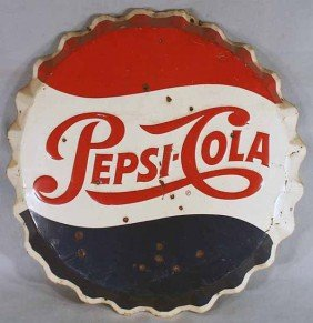 PEPSI COLA BOTTLE CAP SIGN