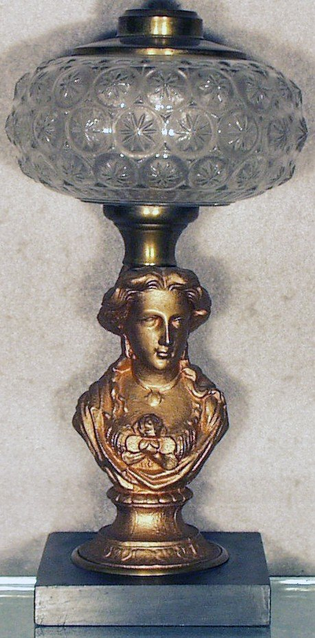 164: BUST OF A WOMAN OIL LAMP