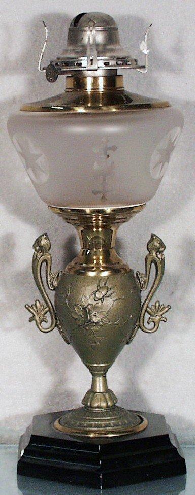 182: FLORAL URN OIL LAMP