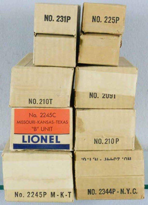 165: 8 LIONEL POSTWAR ORIG BOXES
