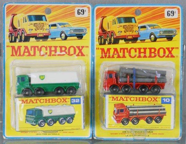 2 MATCHBOX VEHICLES ON CARDS