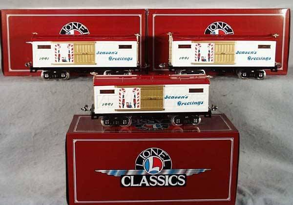 21: 3 LIONEL CLASSICS 13604 1991 XMAS CARS