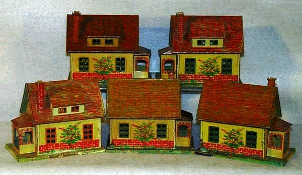 14: 5 LIONEL 184 BUNGALOWS, all are litho versions, som