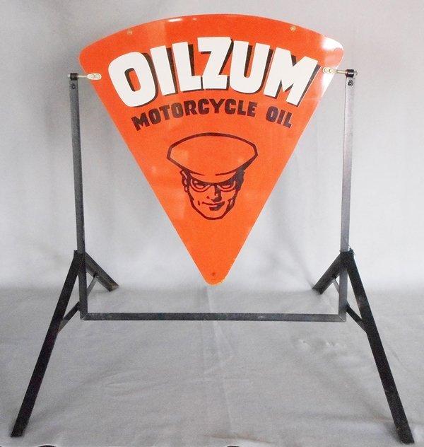 OILZUM MOTORCYCLE OIL PORCELAIN ADVERTISING SIGN