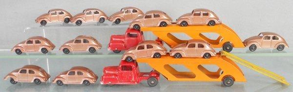 TOOTSIETOY CAR CARRIER & VW BEETLE LOT