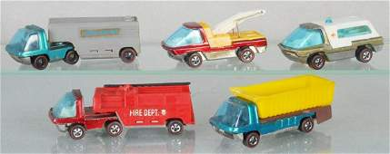 5 HOT WHEELS HEAVY WEIGHTS RED LINES