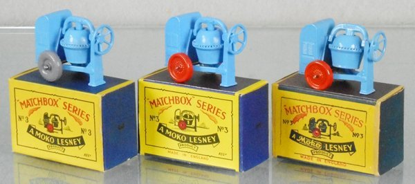 3 MATCHBOX CEMENT MIXERS