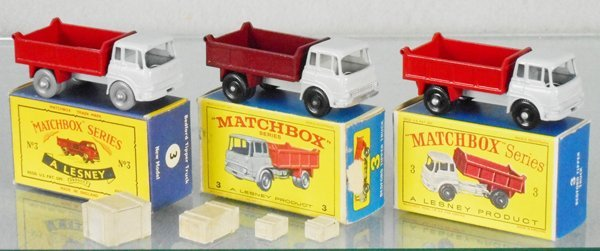 3 MATCHBOX BEDFORD TIPPERS