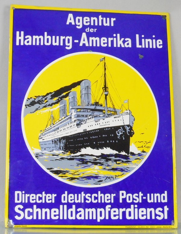 HAMBURG-AMERIKA LINIE PORCELAIN SIGN