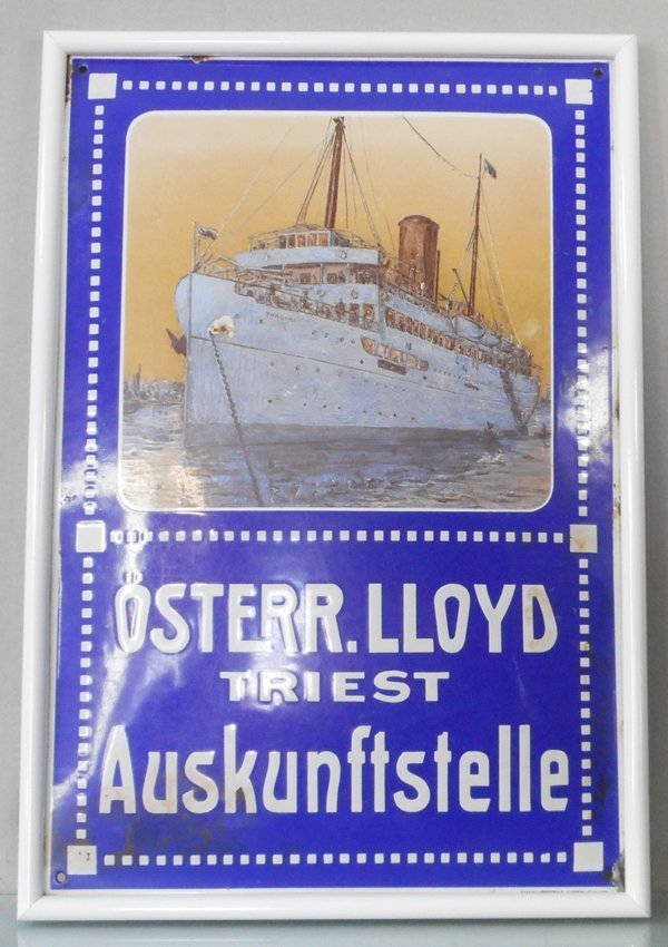 OSTERR.LLOYD TRIEST AUSKUNFTSTELLE PORCELAIN SIGN