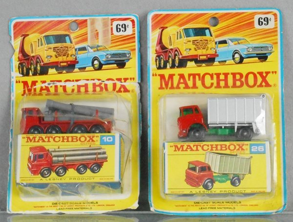 2 MATCHBOX TRUCKS ON CARDS