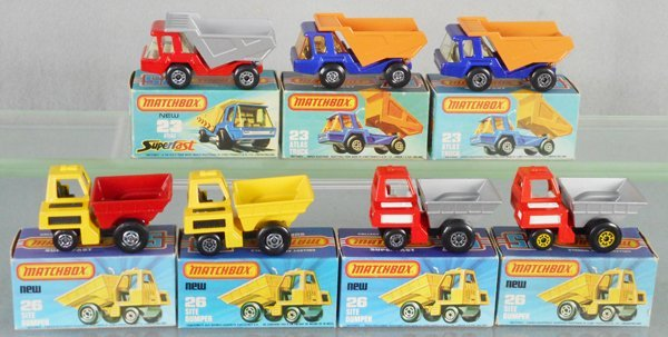 7 MATCHBOX SUPERFAST DUMP TRUCKS
