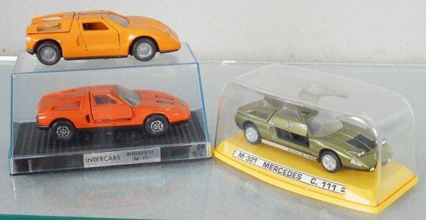 3 MERCEDES C111 DIE CAST AUTOS