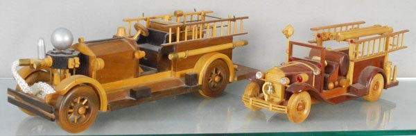2 WOOD COLLECTOR TOY FIRE TRUCKS