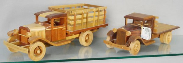 2 WOOD COLLECTOR TOY TRUCKS