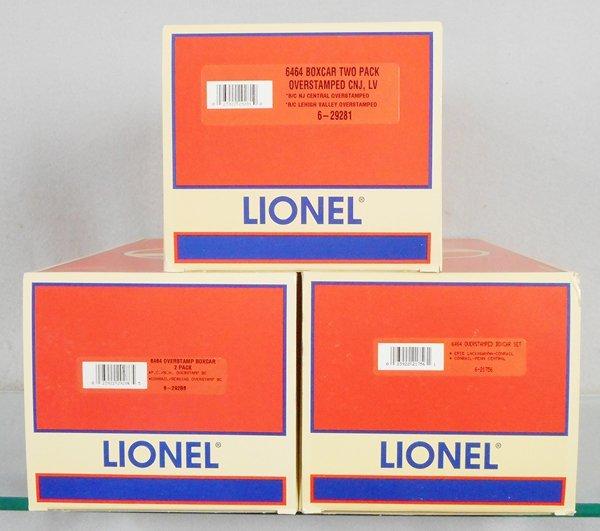 3 LIONEL OVERSTAMPED BOX CAR SETS