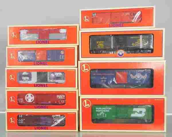 9 LIONEL BOX CARS