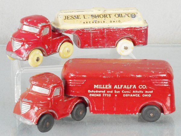 2 METAL CAST ADVERTISING TRUCKS