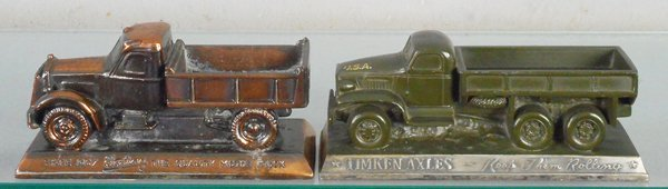 2 ADVERTISING TRUCK PAPERWEIGHTS
