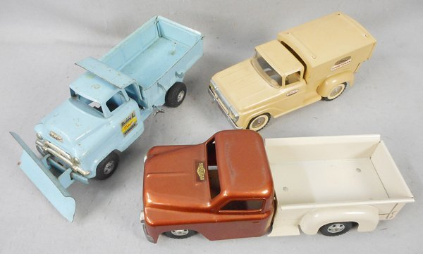 3 PRESSED STEEL TRUCKS