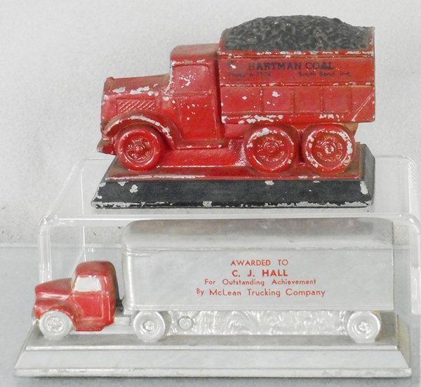 2 TRUCK ADVERTISING PAPERWEIGHTS