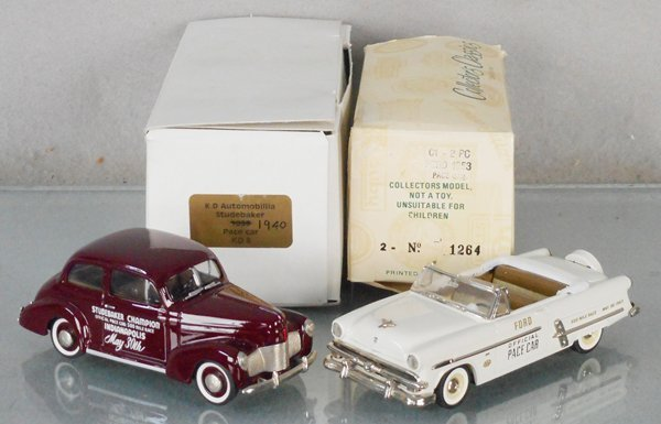2 WHITE METAL PACE CAR MODELS