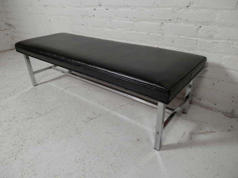 Mid-Century Modern Chrome Bench