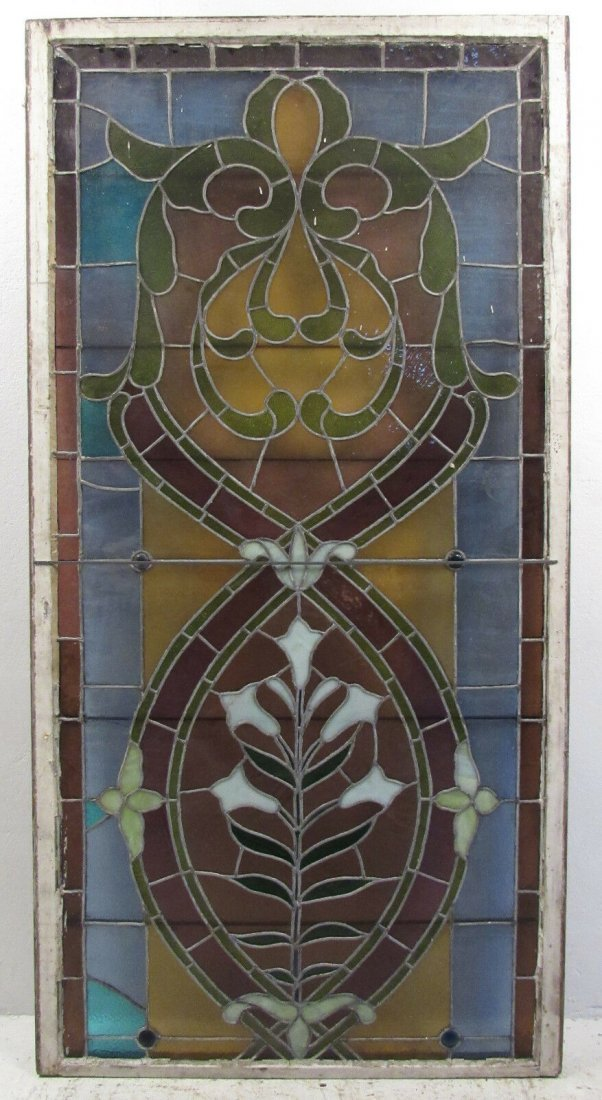 Large Vintage Antique Stained Glass Window