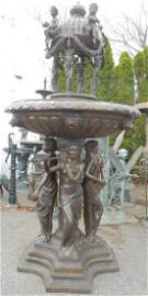 Large Bronze Fountain With Musicians and Dome Topper