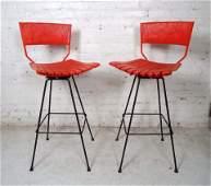 Pair of Umanoff Style Red Stools