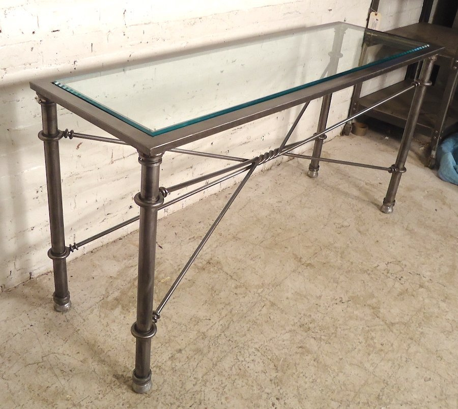 Metal Console Table with Beveled Glass