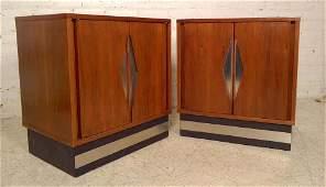 Pair of MidCentury Modern Diamond Front Nightstands