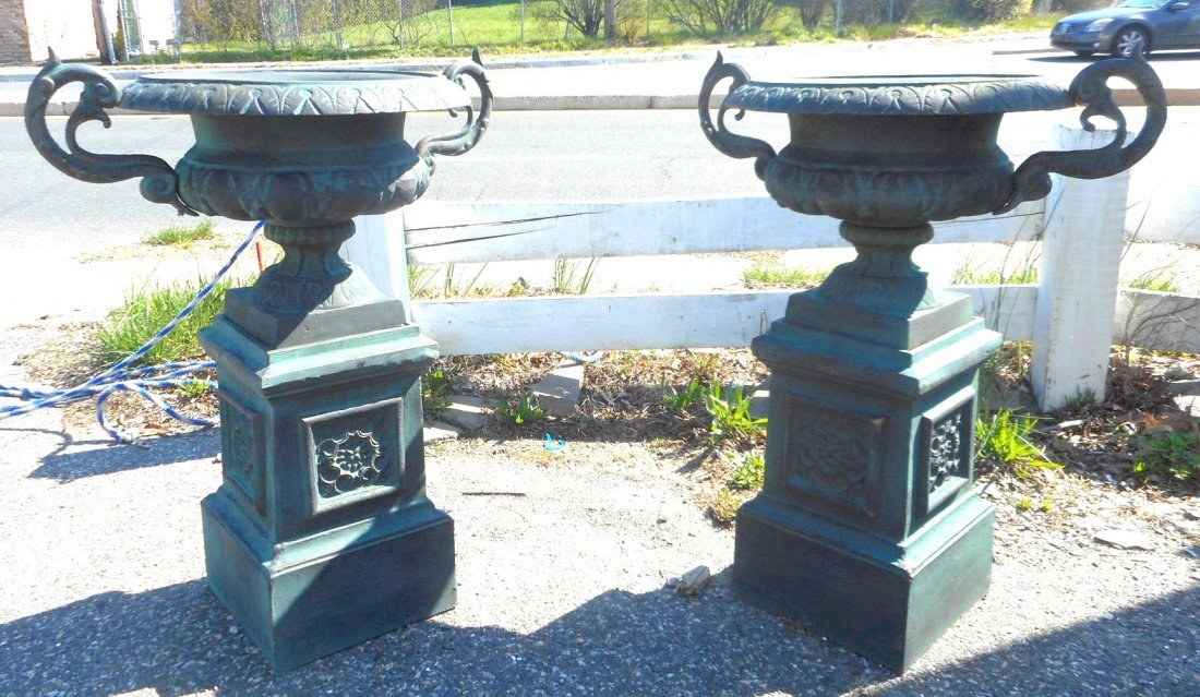 Beautiful Pair of Cast Iron Urns