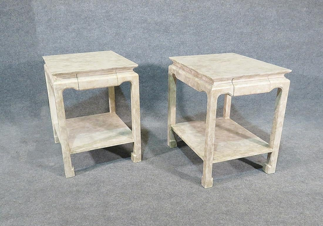 PAIR FAUX DECORATED END TABLES