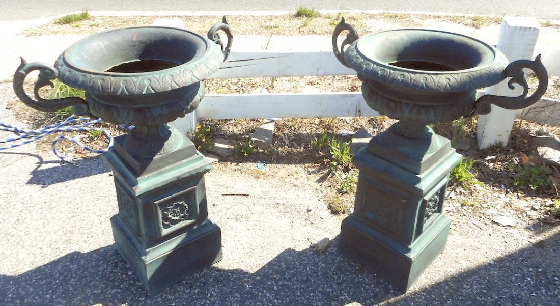 Beautiful Pair of Cast Iron Urns