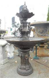 Large Two-Tier Bronze Fountain With Cherubs and Fish