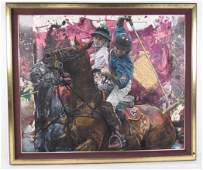 "Impressive ""Polo Brothers"" Painting by Stephen Holland"
