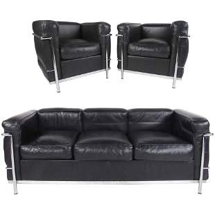 Le Corbusier LC Leather and Chrome Living Room Set