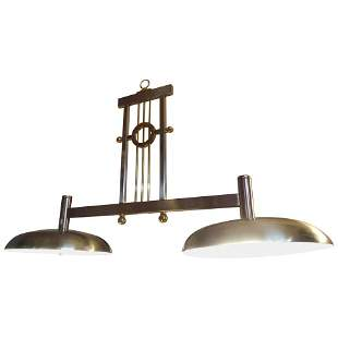 Large Billiard Style Chrome and Brass Chandelier