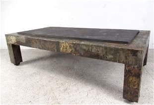 Paul Evans Patchwork Metal and Slate Coffee Table
