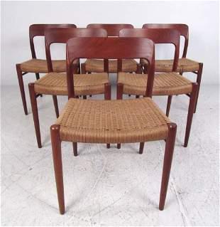 N.O. Møller Teak Papercord Chairs
