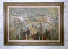Vintage Oil Painting Featuring Tribe of People
