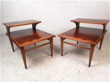 Midcentury Two-Tier End Tables by Lane