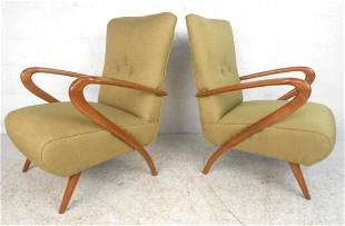 Pair of Mid-Century Paolo Buffa Style Lounge Chairs