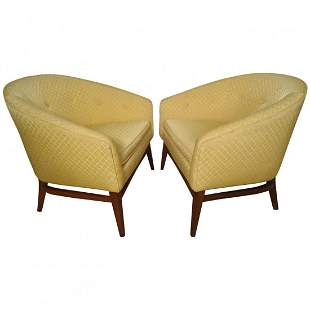 Pair of Midcentury Upholstered Barrel Back Chairs