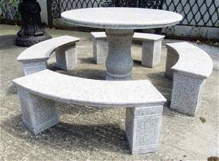 Circular Marble Dining Table With Benches