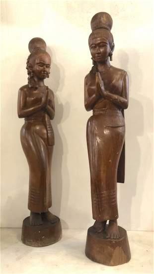 Pair Asian Female Wood Sculptures