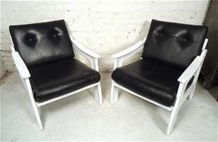 Pair of Vintage Modern Vinyl Chairs
