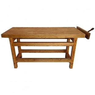 Vintage Work Table with Vice