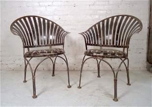 Pair of Industrial Metal Chairs